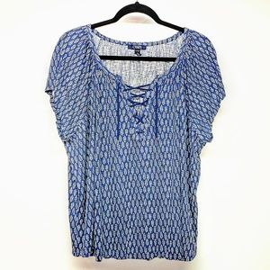 CHAPS Rope Lace Up short sleeve top sz 3X EUC